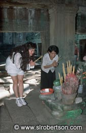 Incense Offering at Shrine - Click for large image