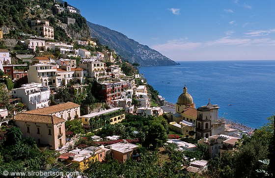 Cliff view over seaside town of Positano, Italy on the Amalfi Coast