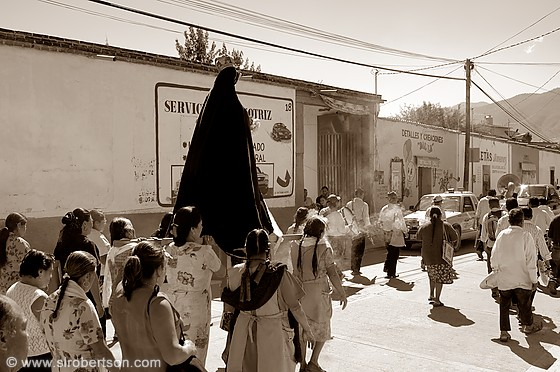 Virgin Mary Procession, Mitla 2 BW