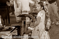 Young Women at the Tlacolula Market BW