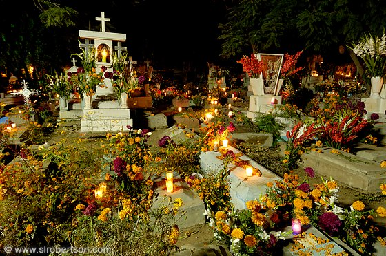 Day of the Dead candles and flowers decorating Xoxocotlan Cemetery