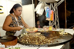 Woman making beef, chicken and pork tacos on comal, Oaxaca