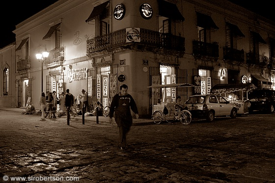Oaxaca Street Corner at Night 2 BW