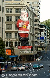 Giant Santa Claus at Whitcoulls department store, downtown Auckland