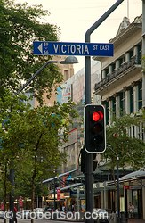 Victoria Street sign and stop light, Auckland