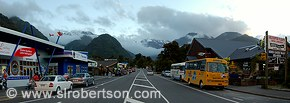 Panorama fram middle of main road through Franz Joseph village