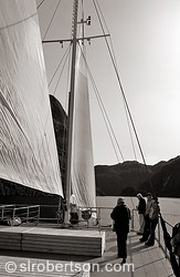 Unfurled sails on Fiordland Navigator cruise ship