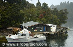 Small hotel for deep sea fisherman at the mouth of Doubtful Sound, Tasman Sea
