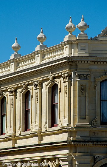 Architectural detail of the Criterion Hotel, Oamaru