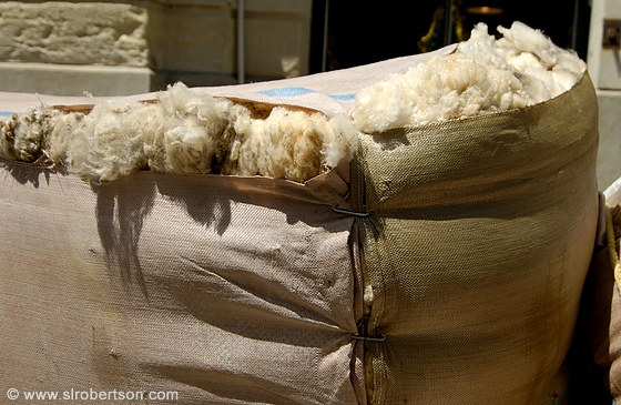 Bale of wool at warehouse, Oamaru