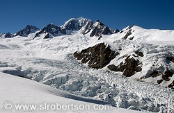 Snow covered peaks at top of Fox Glacier