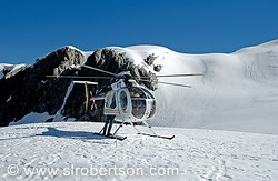 Helicopter on snow pack, Fox Glacier