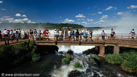 Tourists on bridge overlooking Devil's Throat (Garganta del Diablo), Iguazu Falls