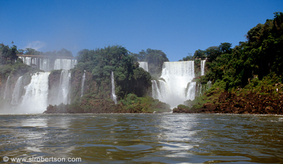 View of falls from boat on Rio Iguazu, Iguazu Falls from the Argentine Side