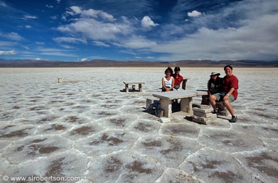 Picnic table and benches carved from salt, tourists, Salinas Grandes, Jujuy