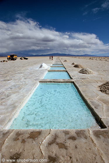 Ground water filled pools cut from salt lake bed, growing pure salt crystals, Salinas Grandes, Jujuy