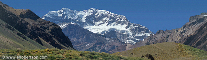 Panoramic view of Mount Aconcagua, tallest mountain outside of the Himalayas