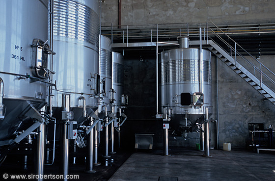 Wine fermenting tanks, Septima Vineyard, Mendoza