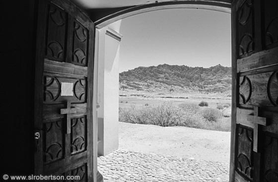 looking out door. Looking Out Across A Valley Through Doorway Of Church, Angastaco Door N