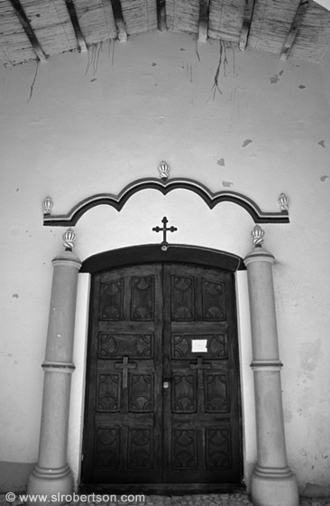 Colonial church doorway, Angastaco BW