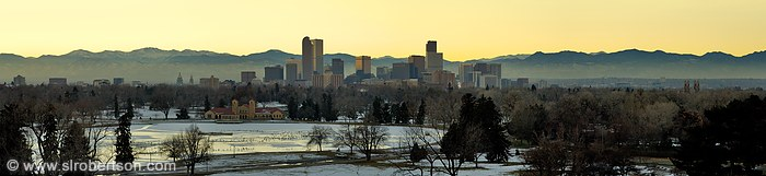 Denver Skyline Panorama as seen from Denver Museum of Natural History, City Park