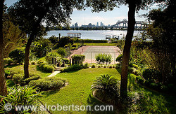 Backyard with tennis court and dock, St. Johns River, Jacksonville, Florida