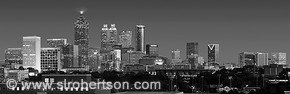 Downtown Atlanta Skyline Panorama 2 BW