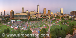Atlanta Skyline and On the Bricks concert, Centennial Olympic Park, downtown Atlanta, Georgia