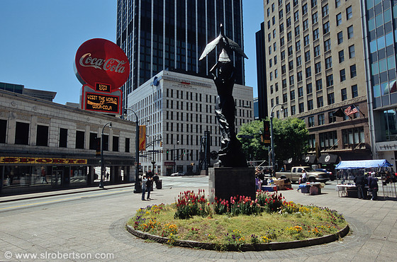 Woodruff Park statue: Atlanta From the Ashes, Coke Sign, Downtown Atlanta