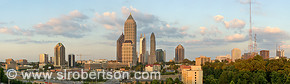 Midtown Atlanta skyline panorama at sunset showing IBM Tower, I-85/75, 14th Street