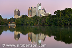 Midtown Atlanta skyscrapers reflected in Lake Clara Meer, Piedmont Park