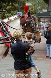Mother and Son with Carriage Horses