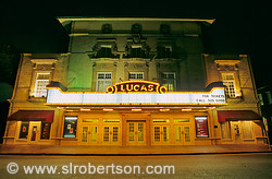 Front facade of Lucas Theater at night, Savannah