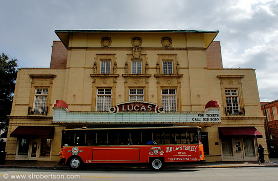 Front facade of Lucas Theater and Trolley Bus, Savannah