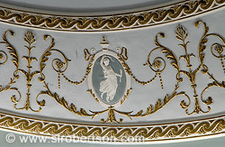 Detail of gilded plaster molds on frieze, Lucas Theater, Savannah