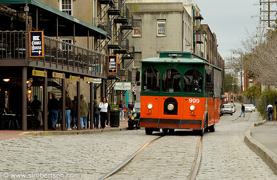 River Street and approaching trolley bus, Savannah