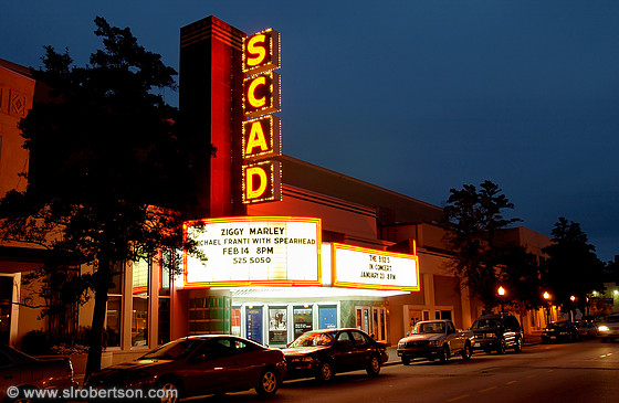 SCAD Trustees Theater marquis at night