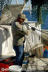 Fisherman mending a fishing net, St. Marys, Georgia